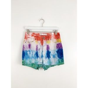 Hand Tie Dyed High Rise Denim Shorts